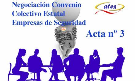 Acta nº 3 de la negociación del Convenio Colectivo Estatal de Seguridad Privada